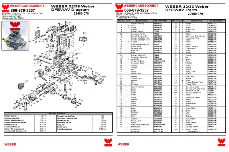 Fuel Management Systemweber 3236 Dfevav Carb Parts